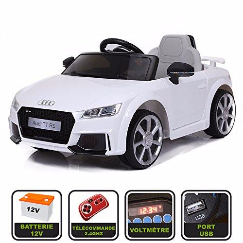 Voiture de sport électrique 12V pour enfant Audi TT RS Cristom® -Télécommande 2.4Ghz- Slot USB et prise MP3 - Licence Audi (Blanc)