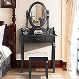 mecor Luxuriös Schminktisch, Schwarz Kosmetiktisch mit Schublade, ovalem Spiegel und schwarzem Hocker MDF