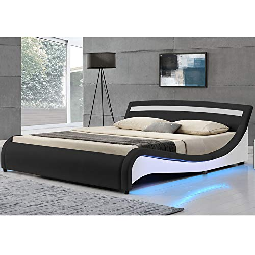 ArtLife Polsterbett Malaga 180 x 200 cm LED Seitenteilen – schwarz mit Kaltschaummatratze