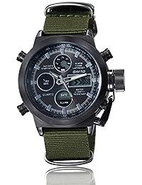 SHOUBIAO® Reloj Reloj Impermeable De Nylon De Cuarzo Impermeable Para Hombre De Montaña De Múltiples Funciones , Black Belt Black Watch
