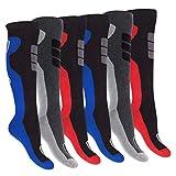 6paires de chaussettes thermiques pour homme - En éponge et au design sportif - Super douces et chaudes -  Noir -  39/42