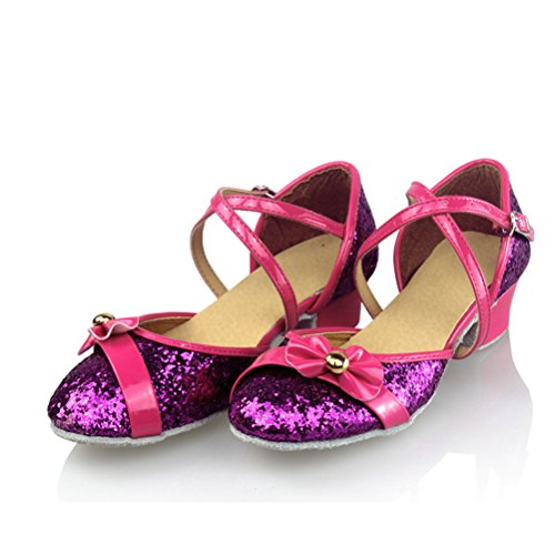 Zhuhaitf Professionale Adult Children Latin Salsa Mid Heel Shoes Ballroom Party Sequins Closed Toe Dance Shoes Rose Red