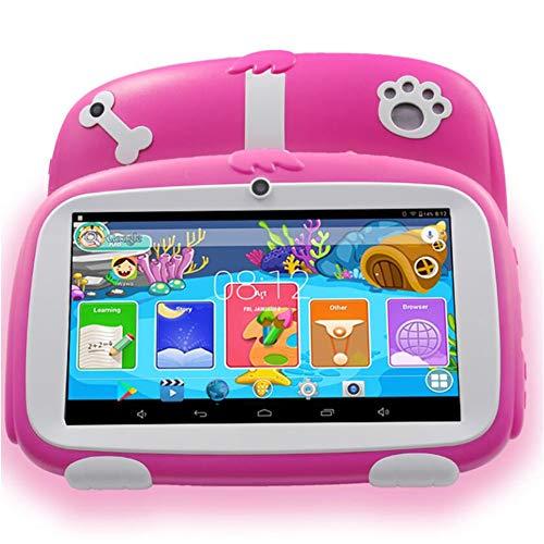 Niños Tablet 7 Pulgadas A33 Android 6,0 niños aprendiendo educación Tablet PC WiFi Bluetooth 8GB Quad Core M756 Tablet con Cubierta de Goma Gratis para niños Regalo de cumpleaños,Pink