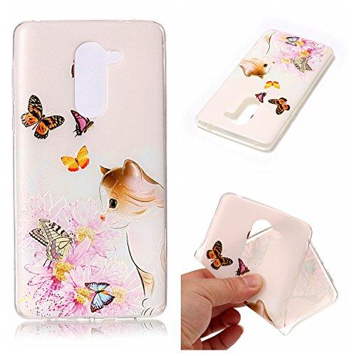 Qiaogle Telefon Case - Weiche TPU Case Silikon Schutzhülle Cover für Apple iPhone 6 Plus / iPhone 6S Plus (5.5 Zoll) - HX59 / Katze + Schmetterling HX59 / Katze + Schmetterling