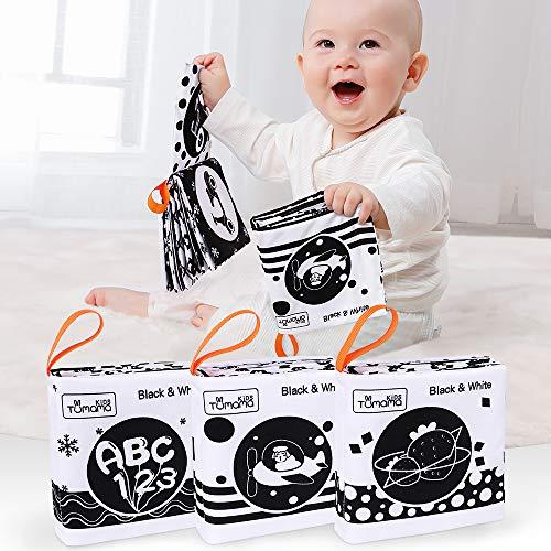 TUMAMA Stofftuchbücher für Babys,My First Soft Books Babyspielzeug frühe Entwicklung Stofftiere,Schwarz-Weiß-Stoffbücher mit Tieren,Zahlenlernspielzeug für Kleinkinder,Kleinkinder(3pack)