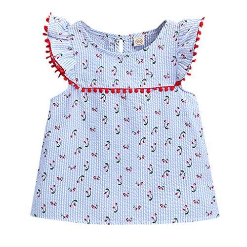 squarex Das Kleinkind-Kind-Baby-Mädchen Sommerkinder Sleeveless Blumenkirsche druckte Prinzessin Dress Clothes Cute Comfortable Casual