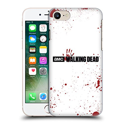 Officiel AMC The Walking Dead Sang Blanc Logo Étui Coque D'Arrière Rigide Pour Apple iPhone 7, Coques iphone