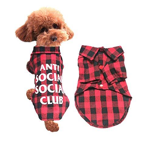 NACOCO Hund Rot Kariert Kleidung für Frühling Sommer und Herbst, Freizeit Hund Shirt, Kariert Shirt für Weihnachten Halloween Urlaub und Partys, für Kleine und mittelgroße Hunde, S (Shih Tzu Im Teddy Kostüm)