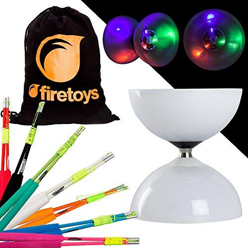Unbekannt LED Big Top Bearing Diabolo Set mit bunten Superglasfaser-Diablo Sticks & Firetoys Baumwolltasche Wählen Sie Stickfarbe. Inklusive Batterien, Pink Sticks