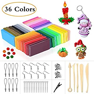 Polymer Clay, 36 Colours Modelling Clay with Bright Color Soft Oven Bake Clay Set with 5 Tools and 25 Accessories, Clay Set Toy and Birthday Gifts for Kids