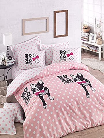 Luxury Bedding Set 3 Pieces Cotton Rich High Quality Linen Double Quilt Duvet Cover Pink Fuchsia Black White Dog Puppy Animal Pet Love Girls Boys Teens Adults Pug Chihuahua Boston Terrier Cartoon Bone Pink Bow Tie(200x200)