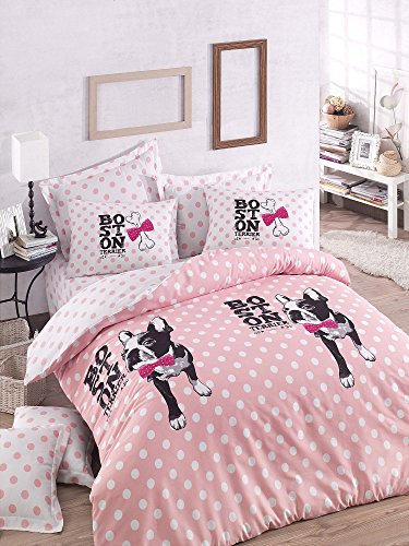 Luxus Bettwäsche Set 3Stück Baumwolle Rich Hohe Qualität Leinen King Quilt Bettbezug Pink Fuchsia Schwarz Weiß Dog Puppy Animal Pet Love Mädchen Jungen Teenager Erwachsene Mops Chihuahua Boston Terrier Cartoon Bone (King Leinen Schwarz)