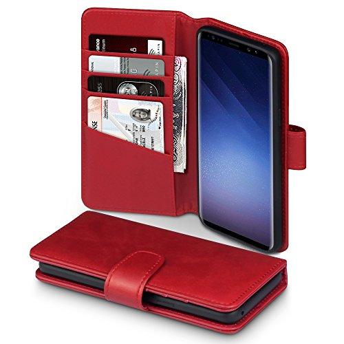 Terrapin, Kompatibel mit Samsung Galaxy S9 Hülle, Premium ECHT Leder Flip Handyhülle Samsung Galaxy S9 Tasche Schutzhülle - Rot EINWEG