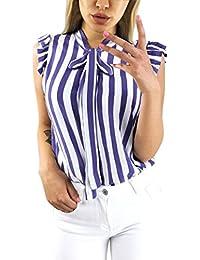 2f063732a0d438 Blusen Damen Kolylong® Frauen Elegant Gestreift Kurzarm Bluse mit Schleife  Festlich Ärmellose Oberteile Sommer V-Ausschnitt Shirt…