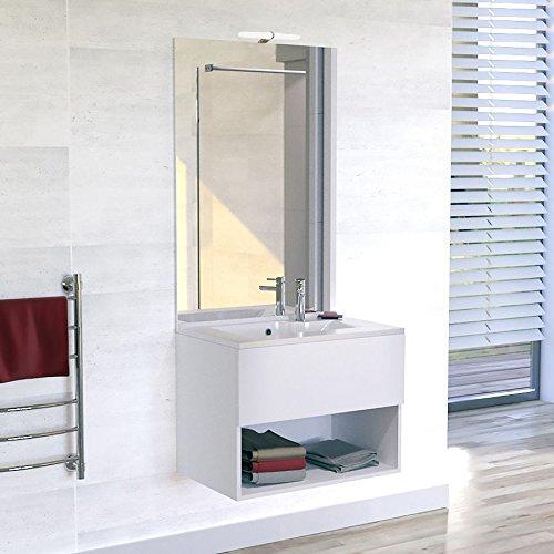 Meuble salle de bain simple vasque ROSÉCO 80 - Blanc brillant