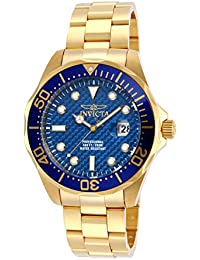 Invicta Pro Diver Men's Analogue Classic Quartz Watch with Stainless Steel Gold Plated Bracelet – 14357