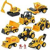 Bauspielzeug-Sets, 8-teilige Mini-Fahrzeuge, einschließlich LKW-Gabelstapler-Bulldozer-Straßenrollenbagger-Muldenkipper, Freilaufwagen für Kinder