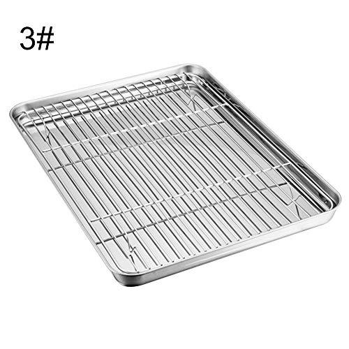 thorityau BBQ Toaster Tray Set,Edelstahl Safe Durable Ofenschale Und Kühlregal, Geeignet Für Grill, Backen Und Picknick Im Freien