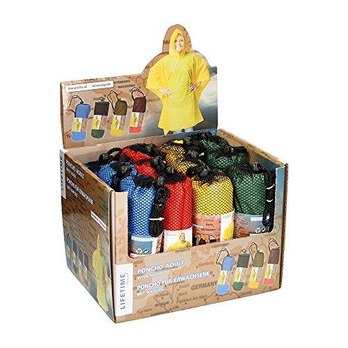 Preisvergleich Produktbild Regenponcho Universalgröße 100x130cm 4 Farben erhältlich Gelb Rot Grün Blau Material PE (Gelb)