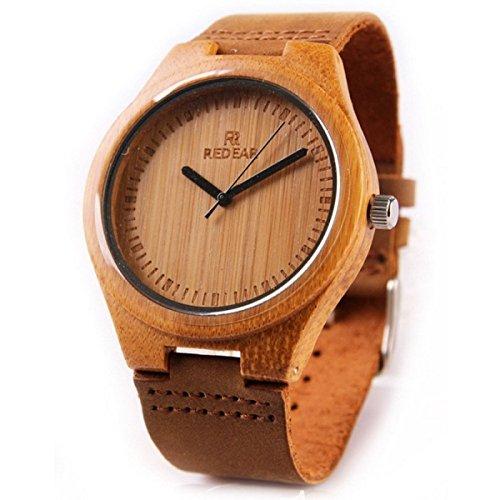 SNHWARE Leder-Paar-Quarz-Uhr-neue Art Und Weise Holz-Uhr Hölzerne Beschaffenheit Klassisches Design,WOMEN