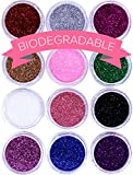 BIODEGRADABLE Glitter for Gel Nail Art Pots Set, ULTRA FINE DUST POWDER, Face Paint Makeup, Hair, Shellac Nail Polish Craft, Festival Face Glitter | Brush Body Tattoos Make Up Sets for Kids Children