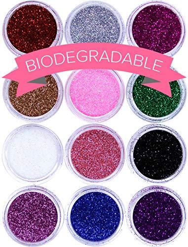 NYK1 | Set di 12 pot di Glitter per unghie | Prodotto per nail art di alta qualità | POLVERE DI GLITTER PER QUALSIASI NAIL ART, PRT VISO, CORPO, CAPELLI. Adatto per unghie in acrilico, gel, smalto semipermanente o normale.