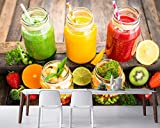 Saft-Tomaten-Frucht-Gemüse-Lebensmitteltapete, Schnellimbiss-Bar-Kaffeestubewandgemälde des Wohnzimmerküchen-Restaurants-300 * 250cm