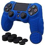 Pandaren® silicone GRIP copertura pelle caso Antiscivolo cover case skin per Controller PS4 x 1 (blu) + FPS PRO altezza extra impugnature per il pollice x 8
