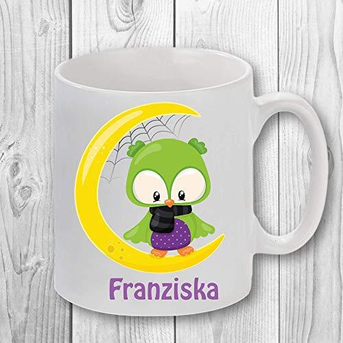 Kinderbecher/Kaffeetasse mit tollem Motivaufdruck und Name - Halloween Eule
