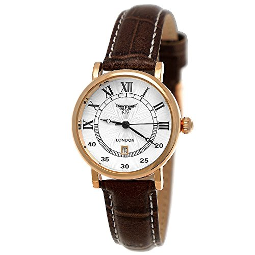 Elegante Kleine NY London Damen-Uhr Analog Quarz Leder Armband-Uhr Klassisches Design Braun Rose-Gold mit Römischen Ziffern und Datumsanzeige Weißes Ziffernblatt (Nickel, Leder)