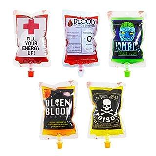 Boodtag 5 Stücke Halloween Party Trinkgefäß Blutbeutel Wasser Blut Sack 12*18cm,250ml (5p)