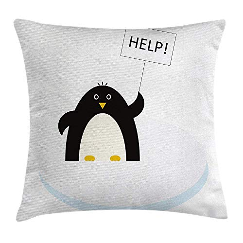 CHSUNHEY Kopfkissenbezüge,Cartoon Arctic Animals Theme Penguin on an Ice Block Needs Help Illustration,Home Decorative Square for Sofa Throw Pillow Case 18