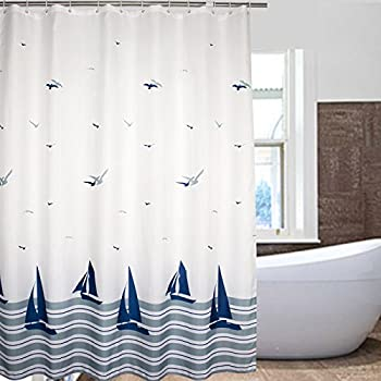 nautical striped sailing boat u0026 sea gull beach pattern bathroom shower curtains white and navy fabric kids curtain with 12 plastic hooks