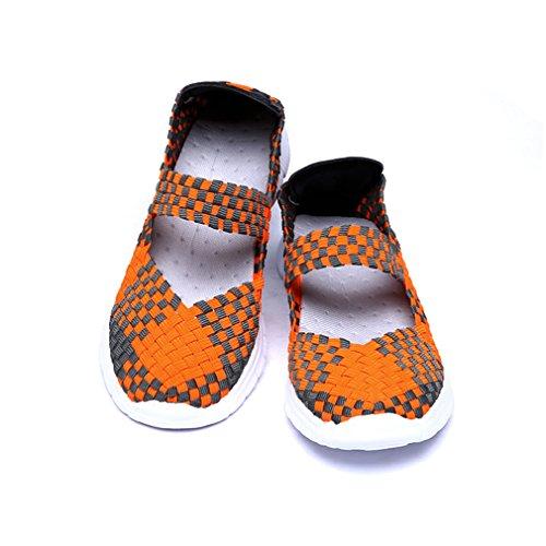 Blivener Chaussures de sport et d'eau tissées, légères et élastiques Orange