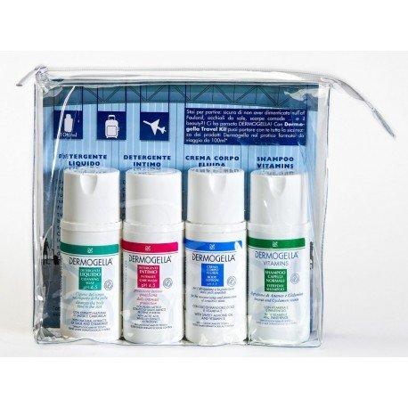 Dermogella - Mini Travel Kit - Detergente Liquido 100 ml + Detergente Intimo 100 ml + Crema Corpo Fluida 100 ml + Shampoo Capelli Normali 100