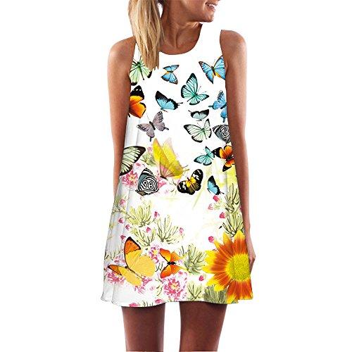 Momoxi Damen Mini Kleid Cocktailkleid, Boho Mädchen Sommer Ärmellos 3D Blumendruck Boho Panzer Casual Bunter Schmetterlingsmusterrock Weiß 2XL