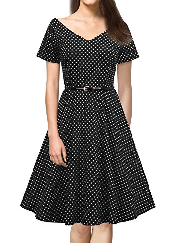 iLover Vintage 1950's Audrey Hepburn pin-up robe de soirée cocktail EU-V091-BlackDots