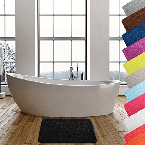 MSV Badteppich Badvorleger Duschvorleger Kieselstein Badematte waschbar, schnelltrocknend, rutschfest 50x80 cm – Schwarz