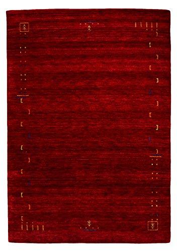 Morgenland Designer Gabbeh Teppich FENTH 300 x 200 cm Rot Einfarbig Modern Handgearbeitet 100% Schurwolle Weich Bordüre -