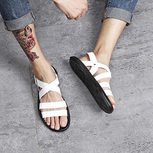 Gjliangxie sandali da uomo pantofole da uomo primaverili in pelle selvatica bianco coreano tendenza spiaggia romana sandali da uomo beach holiday