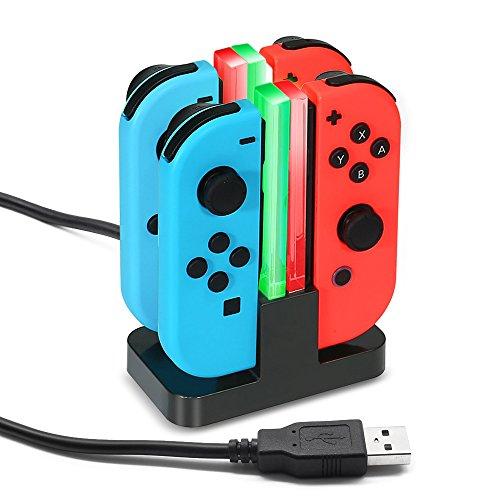 Preisvergleich Produktbild Jirvyuk 4 in 1 Ladegerät Nintendo Switch Controller Joy-Con Lade Dock mit LED-Anzeige