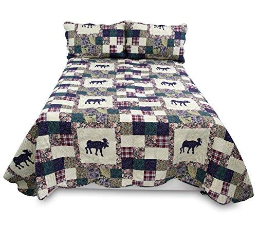 3Set Bett Spread Tröster Überwurf gesteppt mit kissenrollen in King Size Größe, luxuriöser Qualität Hirsch