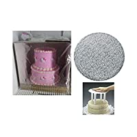 Cakesupplyshop 12inch 14inch Two Tier Round Cake Stacking Kit -Seperator Plate, 16inch Tall Cake Box, Silver Drum, Columns & More by CakeSupplyShop