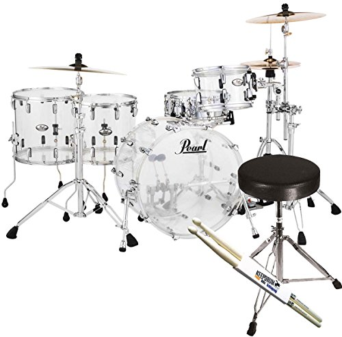 pearl-crb524fp-c730-crystal-beat-shell-ultra-clear-keepudrum-sgabello-sticks-set-acrilico-in