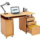Großer Computer und Schreibtisch mit Registratur A4,, 2Stationery Schubladen und Schrank für das Home Office in Buche–Piranha PC 2b