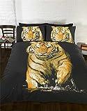 Tiger Photographie Animal Lit simple Housse de couette et taie d'oreiller Parure de lit