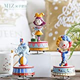 Note. Miz 1 Piece Birthday Gift Music Box Rotating Figure Colorful Circus Clown High Quality Home Decoration Ornament Gift for Kids