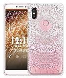 Sunrive Für Xiaomi Redmi S2 Hülle Silikon, Transparent Handyhülle Luftkissen Schutzhülle Etui Case für Xiaomi Redmi S2(TPU Blume rosa)+Gratis Universal Eingabestift