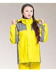 LHP Chubasqueroimpermeable Parejas impermeables impermeable conjunto al aire libre senderismo impermeable pantalones masculino y femenino chaqueta amarillo y rojo ( Color : Amarillo , Tamaño : XXL )