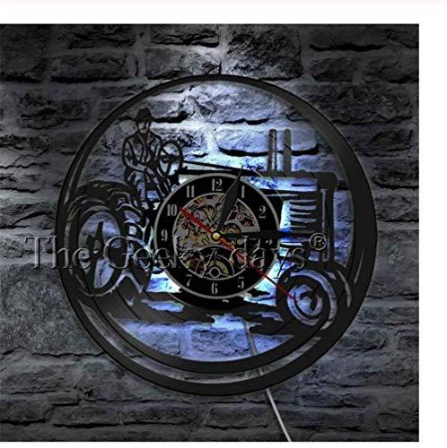 TTZSE Landwirt Auf Traktor LED Leuchtet Bauernhof Personalisierte Wanduhr Vintage Vinyl Record Clock Dekorative Uhr 12 Pollici